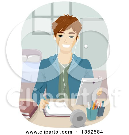 Clipart of a Brunette Caucasian Male High School Student Studying with a Tablet - Royalty Free Vector Illustration by BNP Design Studio