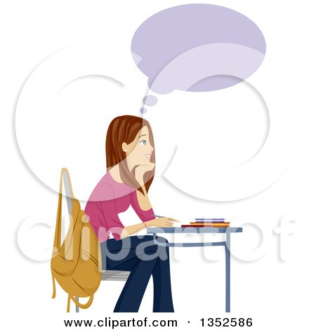 Clipart of a Brunette Caucasian Teenage Girl Thinking and Smiling at Her Desk - Royalty Free Vector Illustration by BNP Design Studio