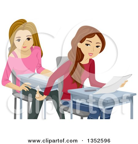 Clipart of Caucasian Teenage Girls Cheating on a Test - Royalty Free Vector Illustration by BNP Design Studio