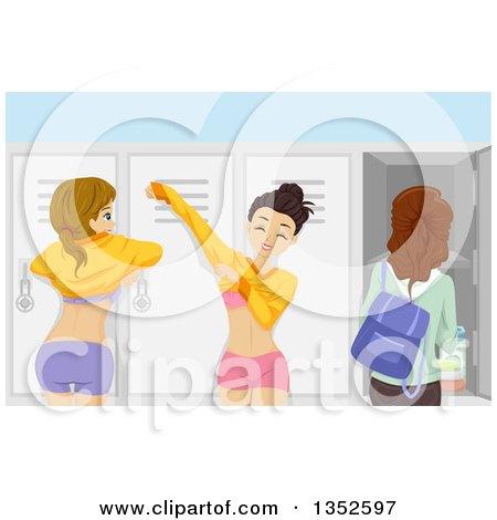 Caucasian Teenage Girls Dressing In A Locker Room By BNP Design Studio
