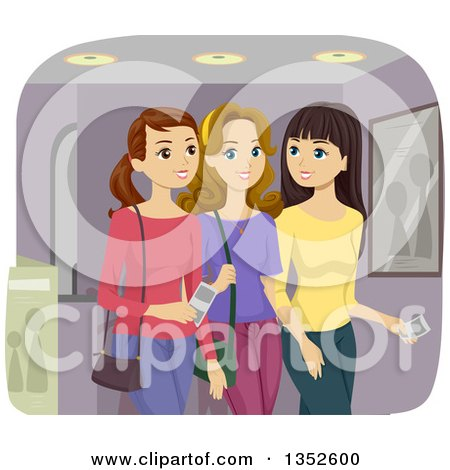 Clipart of Caucasian Teenage Girls Going to the Movies - Royalty Free Vector Illustration by BNP Design Studio