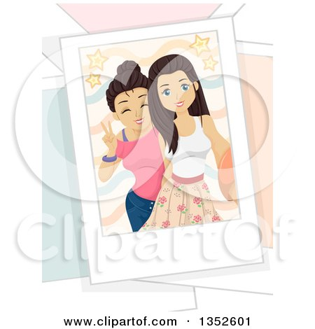 Clipart of Brunette Caucasian Teenage Girls Taking a Selfie - Royalty Free Vector Illustration by BNP Design Studio