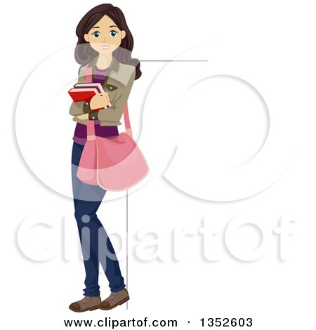 Clipart of a Brunette Caucasian Teenage Girl Holding Books and Leaning Against a Sign - Royalty Free Vector Illustration by BNP Design Studio