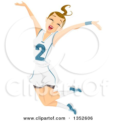Clipart of a Dirty Blond Caucasian Teenage Girl Athlete Jumping - Royalty Free Vector Illustration by BNP Design Studio