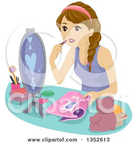 Clipart of a Brunette Caucasian Teenage Girl Putting on Makeup - Royalty Free Vector Illustration by BNP Design Studio