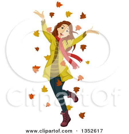 Clipart of a Happy Brunette Teen Girl Cheering in Autumn Leaves - Royalty Free Vector Illustration by BNP Design Studio