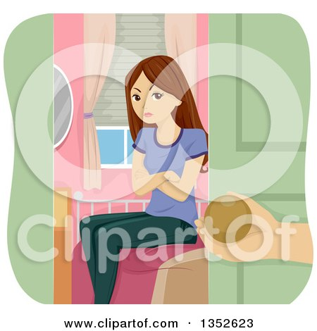 Clipart of a Mad Brunette Caucasian Teenage Girl Being Grounded and Shut in Her Room - Royalty Free Vector Illustration by BNP Design Studio