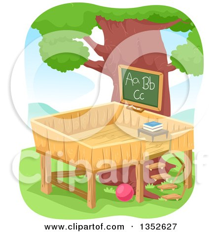 Clipart of a Tree House Class Room - Royalty Free Vector Illustration by BNP Design Studio