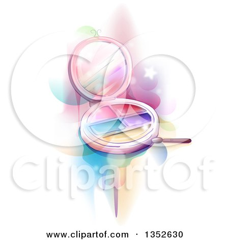 Clipart of a Makeup Palette over Colors, Flares and Stars on White - Royalty Free Vector Illustration by BNP Design Studio