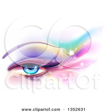 Clipart of a Blue Female Eye with Colorful Eye Shadow, Flares and Stars over White - Royalty Free Vector Illustration by BNP Design Studio