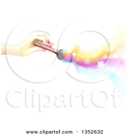 Clipart of a Female Hand Holding a Makeup Brush, with Colorful Waves, Stars and Flares on White - Royalty Free Vector Illustration by BNP Design Studio