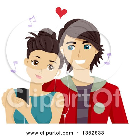 Clipart of a Brunette Caucasian Teenage Couple Sharing Earphones and Listening to Music on a Smart Phone - Royalty Free Vector Illustration by BNP Design Studio