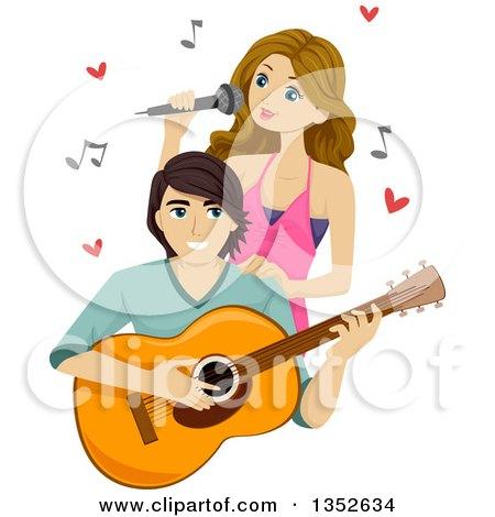Clipart of a Teenage Couple Singing and Playing a Guitar - Royalty Free Vector Illustration by BNP Design Studio