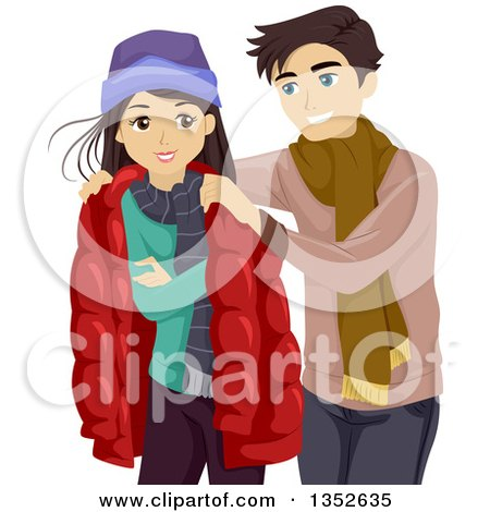 Clipart of a Teenage Boyfriend Giving His Girlfriend His Jacket - Royalty Free Vector Illustration by BNP Design Studio