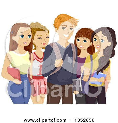Clipart of a Popular Teenage Boy Surrounded by Girls - Royalty Free Vector Illustration by BNP Design Studio