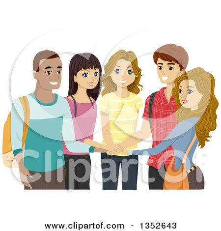 Clipart of a Group of Happy High School Students with Their Hands in a Circle - Royalty Free Vector Illustration by BNP Design Studio