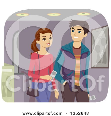 Clipart of a Young Caucasian Couple Going to the Movies - Royalty Free Vector Illustration by BNP Design Studio