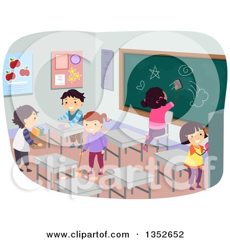 Clipart of Students Cleaning a Classroom - Royalty Free Vector Illustration by BNP Design Studio