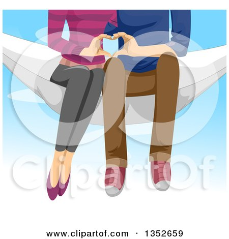 Clipart of a View of a Young Couple from the Chest Down, Sitting in a Hammoc and Using Their Hands to Form a Heart, over Sky - Royalty Free Vector Illustration by BNP Design Studio
