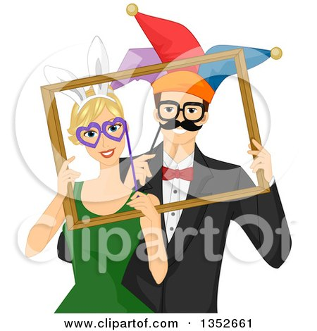 Clipart of a Happy Goofy Caucasian Couple Posing with Photo Booth Props in a Frame - Royalty Free Vector Illustration by BNP Design Studio