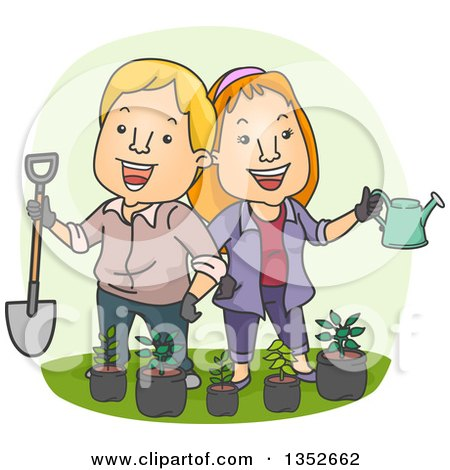 Clipart of a Cartoon Happy Caucasian Couple Holding a Shovel and Watering Can over Potted Seedling Plants - Royalty Free Vector Illustration by BNP Design Studio
