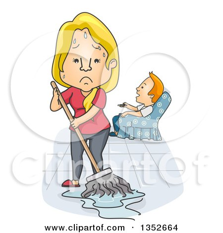 Clipart of a Cartoon Tired and Angry Caucasian Wife Mopping While Her Husband Watches Tv - Royalty Free Vector Illustration by BNP Design Studio
