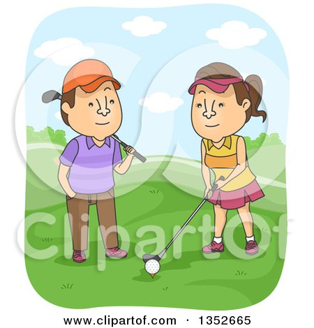 Clipart of a Cartoon Brunette Caucasian Man Teaching His Wife How to Golf - Royalty Free Vector Illustration by BNP Design Studio