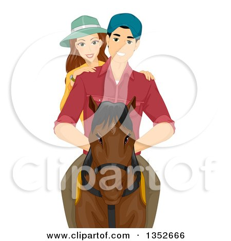Clipart of a Happy Caucasian Couple Horse Back Riding - Royalty Free Vector Illustration by BNP Design Studio