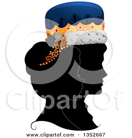 Clipart of a Grayscale Profile Silhouette of a King and Queen with Colored Crowns - Royalty Free Vector Illustration by BNP Design Studio