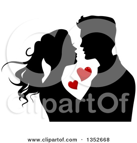 Clipart of a Black Silhouetted Young Couple About to Kiss Around Red Hearts - Royalty Free Vector Illustration by BNP Design Studio