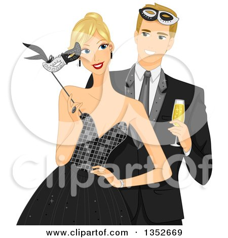 Clipart of a Blond Caucasial Couple at a Formal Masquerade Ball - Royalty Free Vector Illustration by BNP Design Studio