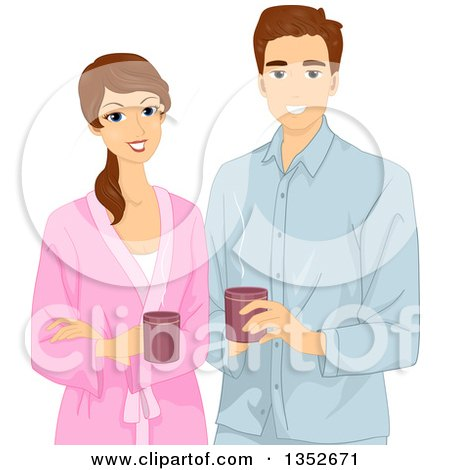 Clipart of a Happy Brunette Caucasian Couple in Robes, Holding Coffee Mugs - Royalty Free Vector Illustration by BNP Design Studio