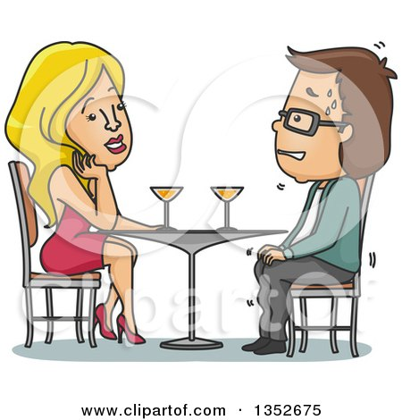 Clipart of a Cartoon Sexy Blond Caucasian Woman Attracted to a Nervous Sweating Man on a Date - Royalty Free Vector Illustration by BNP Design Studio