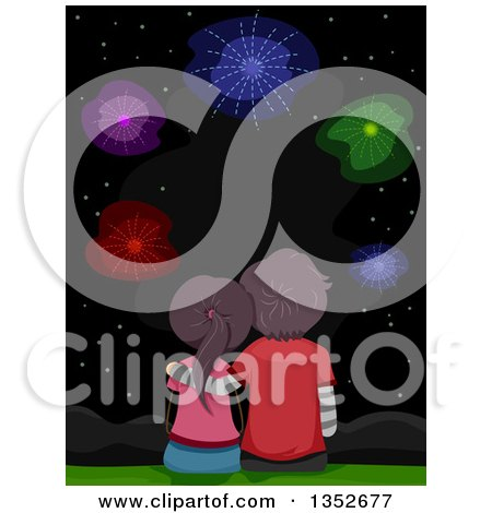 Clipart of a Rear View of a Young Couple Sitting and Watching Fireworks - Royalty Free Vector Illustration by BNP Design Studio
