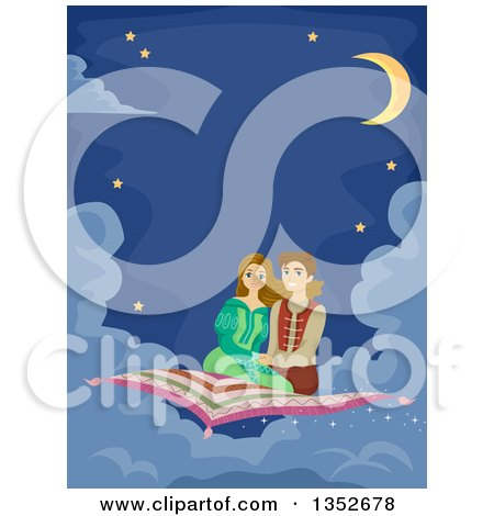 Clipart of a Young Couple on a Magic Carpet Ride - Royalty Free Vector Illustration by BNP Design Studio