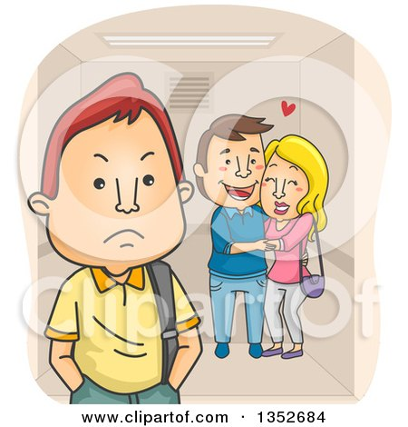 Clipart of a Cartoon Annoyed Teenage Boy by an Affectionate Couple in an Elevator - Royalty Free Vector Illustration by BNP Design Studio