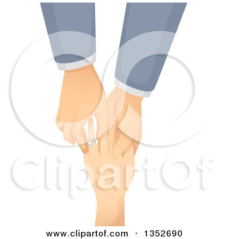 Clipart of a Caucasian Gay Man Putting an Engagement Ring on His Partner's Finger - Royalty Free Vector Illustration by BNP Design Studio