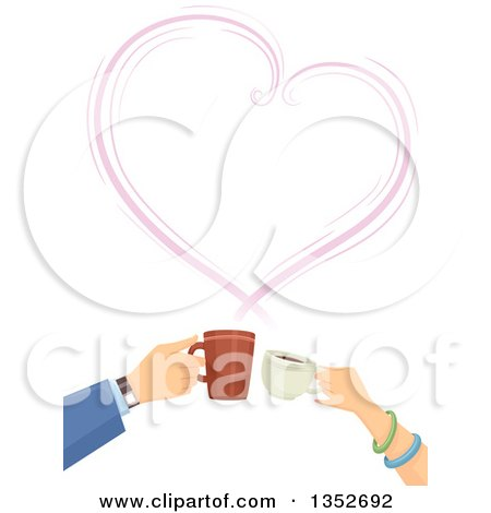 Clipart of Hands of a Caucasian Couple Clinking Coffee Cups Under a Steam Heart - Royalty Free Vector Illustration by BNP Design Studio