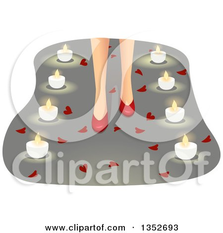 Clipart of a Woman's Feet in Red High Heels, Surrounded by Hearts and Candles - Royalty Free Vector Illustration by BNP Design Studio