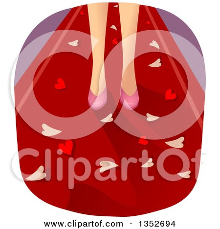 Clipart of a Woman's Feet in Pink High Heels, Surrounded by Hearts on Red - Royalty Free Vector Illustration by BNP Design Studio