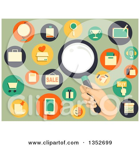 Clipart of a Hand Holding a Magnifying Glass, Surrounded by Retail Icons on Green - Royalty Free Vector Illustrationz by BNP Design Studio