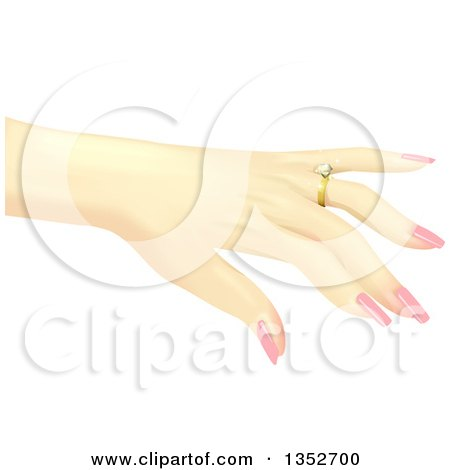 Clipart of a Caucasian Woman's Hand Showing off a Diamond Ring - Royalty Free Vector Illustration by BNP Design Studio