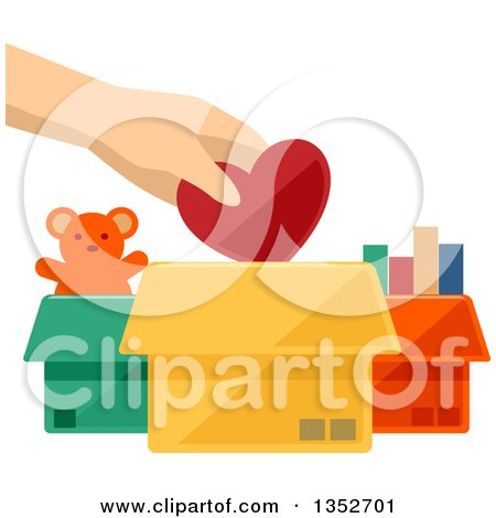 Clipart of a Hand Putting a Heart into a Toy Donation Box - Royalty Free Vector Illustration by BNP Design Studio