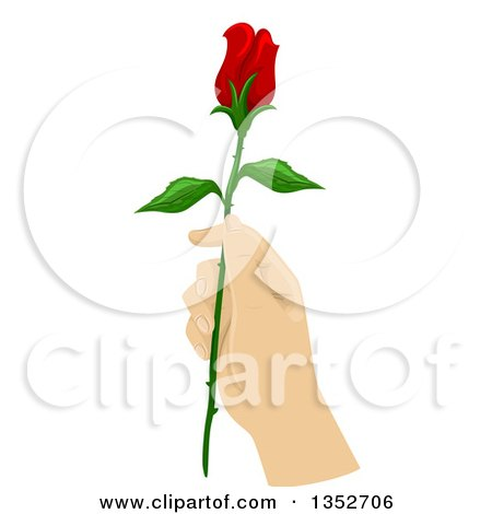 Clipart of a Hand Holding a Long Stemmed Red Rose - Royalty Free Vector Illustration by BNP Design Studio