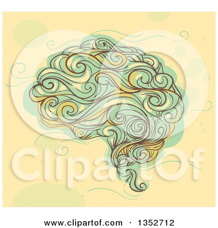 Clipart of a Sketched Human Brain in Whimsical Swirl Style - Royalty Free Vector Illustration by BNP Design Studio