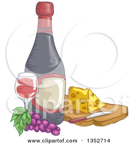 Clipart of a Sketched Wine Bottle, Grapes, Glass and Cheese - Royalty Free Vector Illustration by BNP Design Studio