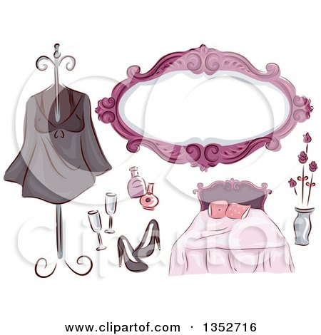 Clipart of Black Pink and Purple Bedroom Chic Items - Royalty Free Vector Illustration by BNP Design Studio