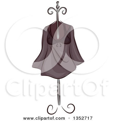 Clipart of a Sketched Shirt on a Stand - Royalty Free Vector Illustration by BNP Design Studio
