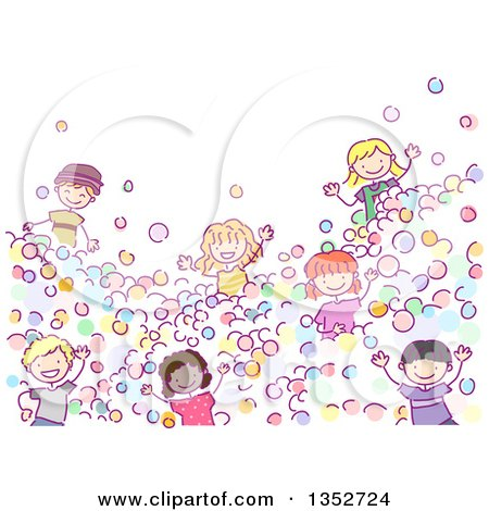 Clipart of a Doodled Group of Children Playing in a Ball Pit - Royalty Free Vector Illustration by BNP Design Studio