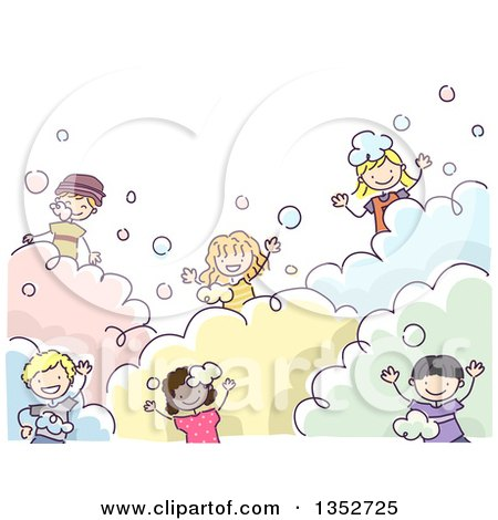Clipart of a Doodled Group of Children Playing in Bubbles - Royalty Free Vector Illustration by BNP Design Studio